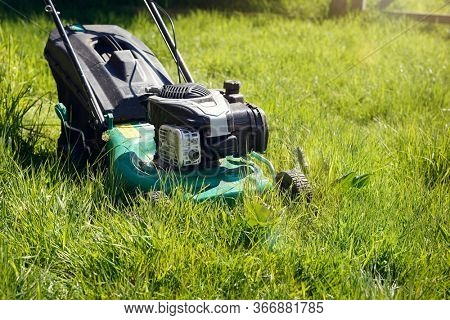 Mowing or cutting the very long grass with a green lawn mower in the summer sun