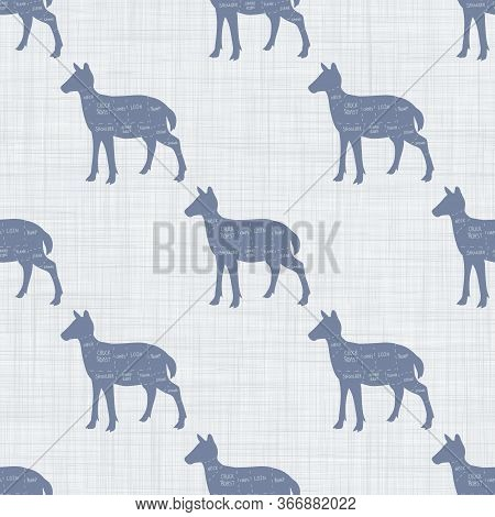 Seamless French Farmhouse Deer Cut Chart Pattern. Farmhouse Linen Shabby Chic Style. Hand Drawn Rust