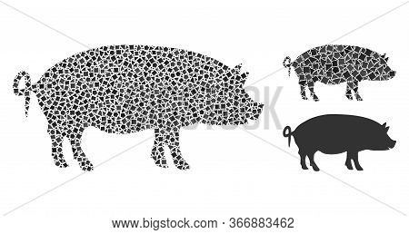 Mosaic Swine Icon United From Uneven Spots In Different Sizes, Positions And Proportions. Vector Tre