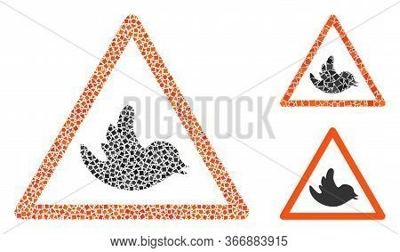 Mosaic Bird Warning Icon Constructed From Uneven Parts In Variable Sizes, Positions And Proportions.