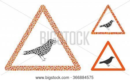 Collage Bird Warning Icon United From Trembly Items In Different Sizes, Positions And Proportions. V