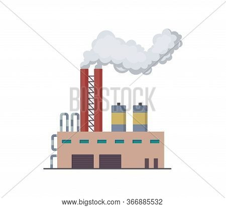 Factori Or Power Plant Flat Design Of Vector Illustration. Manufactory Industrial Building Refinery