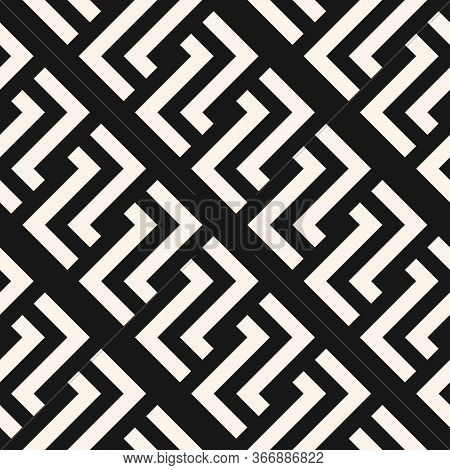 Vector Geometric Seamless Pattern With Lines, Meanders, Chain, Diagonal Grid. Traditional Grecian Mo