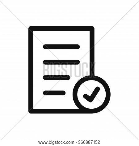 Document With Checkmark Icon Isolated On White Background. Document With Checkmark Icon In Trendy De
