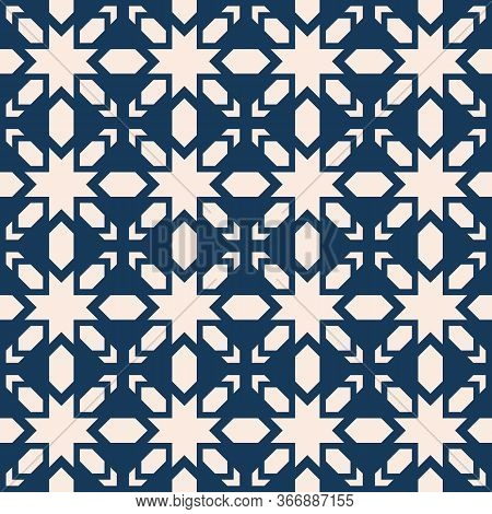 Vector Geometric Seamless Pattern. Abstract Texture With Stars, Crosses, Diamonds, Grid. Simple Folk