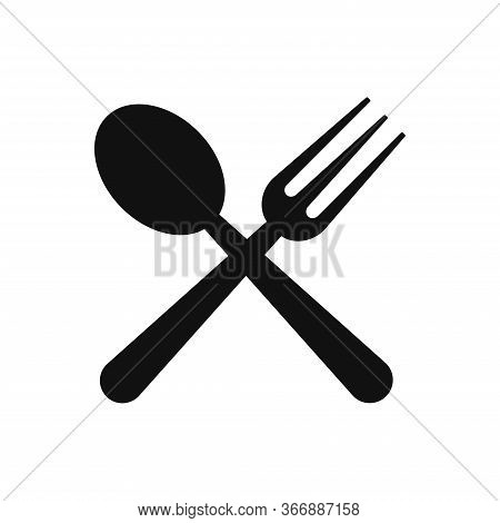 Fork And Spoon Icon Isolated On White Background. Fork And Spoon Icon In Trendy Design Style. Fork A