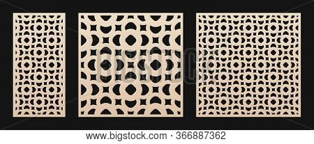Laser Cut Panel Pattern. Vector Stencil With Abstract Floral Geometric Grid, Ornament In Oriental St