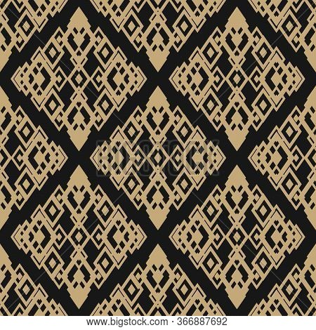 Golden Ornamental Seamless Pattern. Vector Geometric Texture With Diamond Shapes, Rhombuses. Abstrac