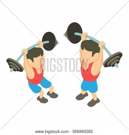 Weightlifter Icon. Isometric Illustration Of Weightlifter Vector Icon For Web