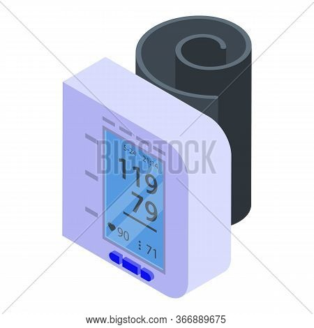 Blood Pressure Monitor Icon. Isometric Of Blood Pressure Monitor Vector Icon For Web Design Isolated