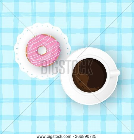 Vector Cartoon Illustration Of Doughnut With Cup Of Coffee. Cup Of Hot Beverage And Sweet Donut With