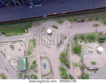 Children's playground in a residential area. Incription- Good Morning (RUS). Residential area of Kiev (drone image). May 16, 2020 Kiev ,Ukraine
