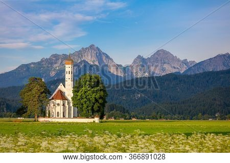 Beautiful Landscape with Historical chirch St. Coloman and Mountains, Germany, europe