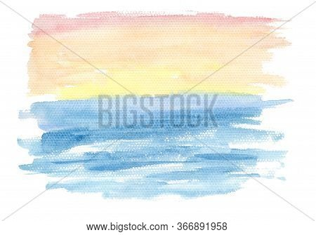 Abstract Horizontal Gradient From Blue To Orange And Red Watercolor Landscape Background, Wash Techn