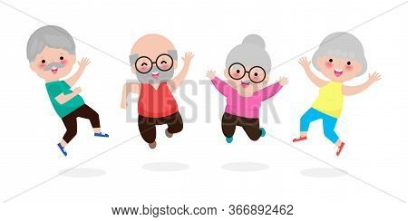 Happy Group Of Elderly People Jumping Together, Old Senior Couple Jumping Cartoon Old Man And Old Wo