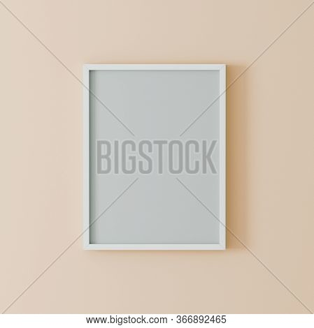 Blank Frame On Light Orange Wall Mock Up, Vertical Black Poster Frame On Wall,  Picture Frame Isolat