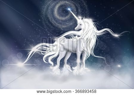 Illustration Of  Unicorn With Sky Galaxy Fantasy Background In Blue Color. Digital Cg Painting Of Fa