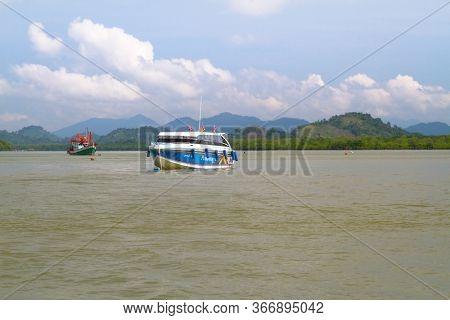 Koh Kho Khao, Thailand - November 5, 2012: Motor boat on the Andaman Sea near Khao Lak, Thailand