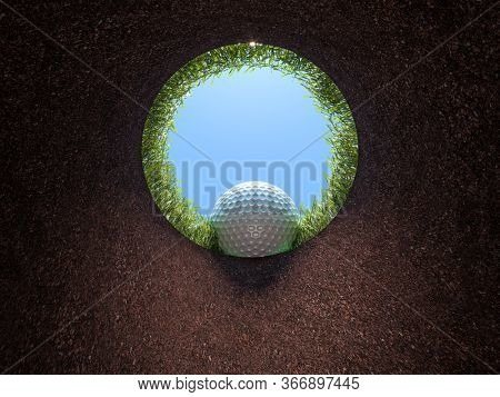 golf hole, view from inside, ball falling. view of the sky and the grass. 3d render. nobody around. sport and victory concept.