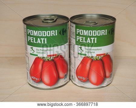 Milan - Apr 2020: Carrefour Tinned Tomato