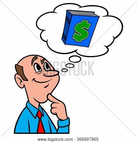 Thinking About Blue Book Value - A Cartoon Illustration Of A Man Thinking About The Blue Book Value