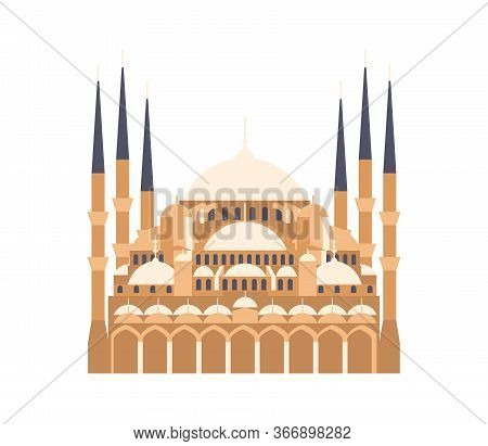Logo Of Saint Sophia Cathedral Byzantine In Turkey. Istanbul Travel And Voyage Around Europe Collect