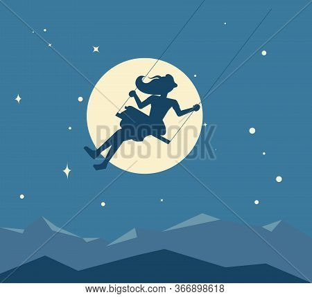 Silhouette Of A Young Girl Swinging On A Swing Against The Background Of The Moon And The Starry Nig