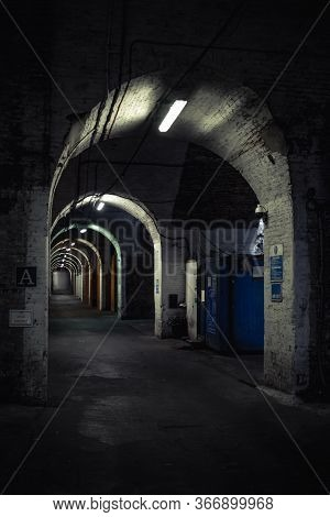 Grimy And Run Down Brick Tunnel With Bright White Florescent Lights In East London. Street, Urban, C
