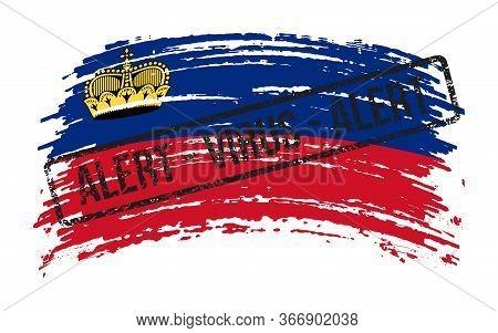 Liechtenstein Torn Flag With A Stamp With The Words Alert Virus, Vector