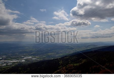 Impressive Views Of The Landscape From The Top Of Ještěd, Vast Forests On A Background Of Wild Cloud