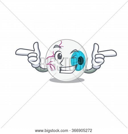 Cartoon Design Of Eyeball Showing Funny Face With Wink Eye