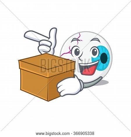 A Cheerful Eyeball Cartoon Design Concept Having A Box
