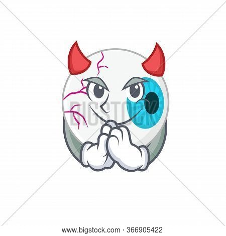 Eyeball Clothed As Devil Cartoon Character Design Concept