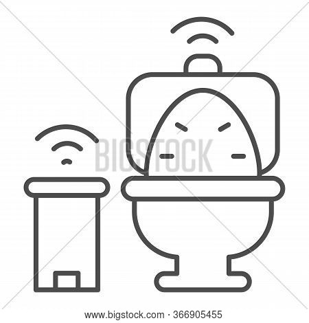 Smart Toilet And Garbage Can Thin Line Icon, Smart Home Symbol, Remote Control House Technology Vect