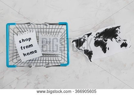 Helping Businesses After The Global Lockdown, Shopping Bags And World Map With Shop From Home And St