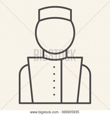 Concierge Thin Line Icon. Hotel Porter Symbol, Outline Style Pictogram On Beige Background. Bellboy