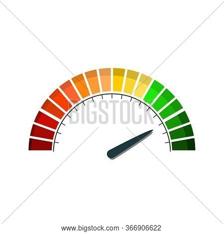 Color Scale With Arrow From Red To Green. The Measuring Device Icon. Sign Tachometer, Speedometer, I