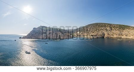 Scenic Panoramic View Of Balaclava Bay With Yachts From The Ruines Of Genoese Fortress Chembalo. Bal