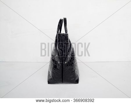 Black Handmade Womens Shopper Bag, Patent Leather Bag Made Of Crocodile Eco Leather, Patent Leather