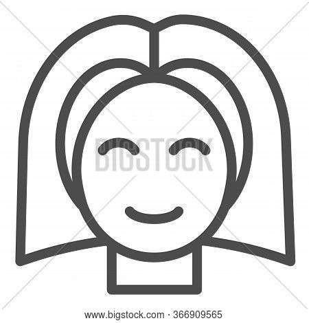 Female Teenager Head Line Icon, Childhood Concept, Young Girl With Straight Hair Sign On White Backg
