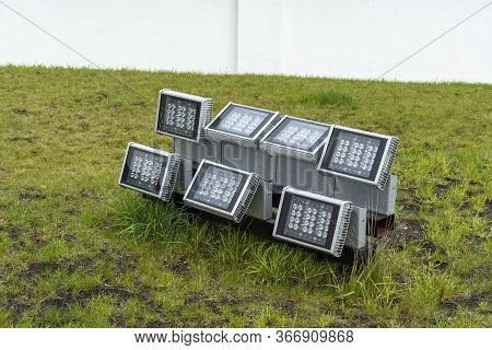 Led Led Spotlights To Illuminate The Building. Outdoor Lighting Led. Energy Saving Technology Concep