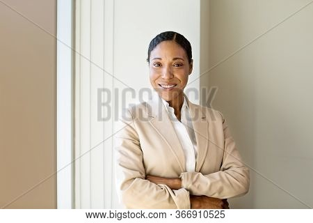 Portrait Of African American Business Woman At Work.