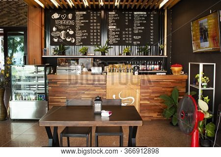 Interior Decoration Furniture Of Cafe Coffee Shop With Staff Barista Brew Make Coffee Serve Customer