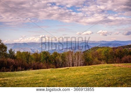 Green Valley Nature Landscape. Mountain Layers Landscape. Springtime In Mountain Meadow Landscape. M