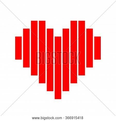 Heart Shape Red Pixel Strip Isolated On White, Square Red Pixel Heart Shape For Clip Art, Cute Pixel
