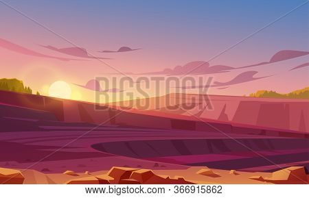 Landscape With Mining Quarry At Sunset. Opencast Mine With Rubble, Sand Or Marble. Vector Cartoon Il
