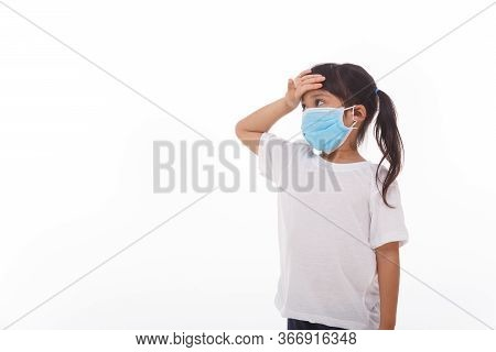 Asia Women Wearing Mask To Prevent The Virus Pm2.5, Coronavirus, (2019-ncov) Asian Little Girl Feeli