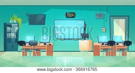 Computer Class, Empty Interior Of School, University Or College, Modern Room For Studying. Cabinet W