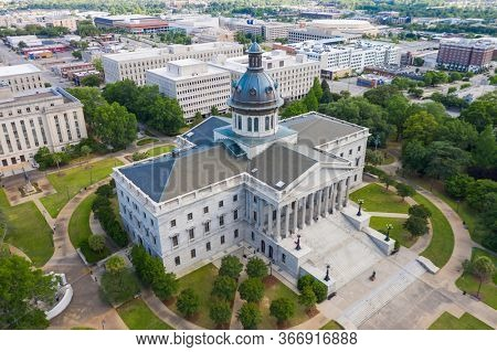 May 07, 2020 - Columbia, South Carolina, USA: The exterior of the South Carolina State House in Columbia, South Carolina.