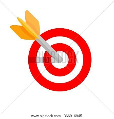 Arrow Shooting In Circle Red For Target Aiming Isolated On White, Aiming Arrow Shooting Target Sign